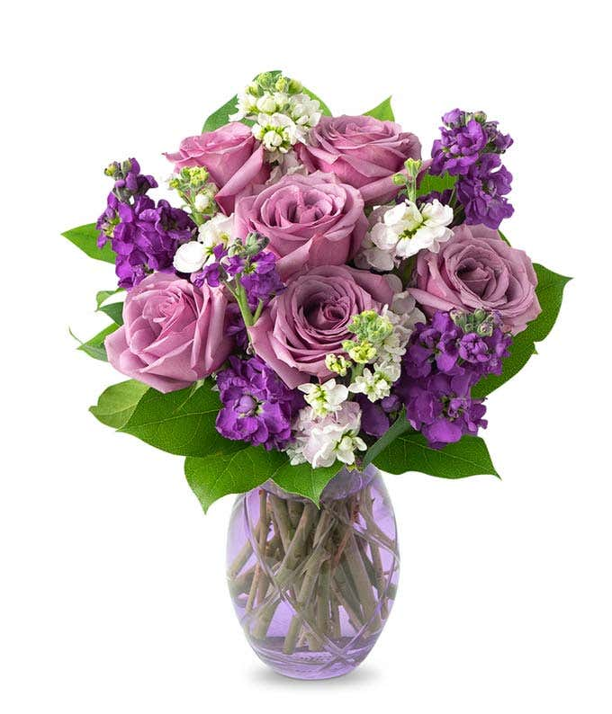 Lavender roses with pink floral stems