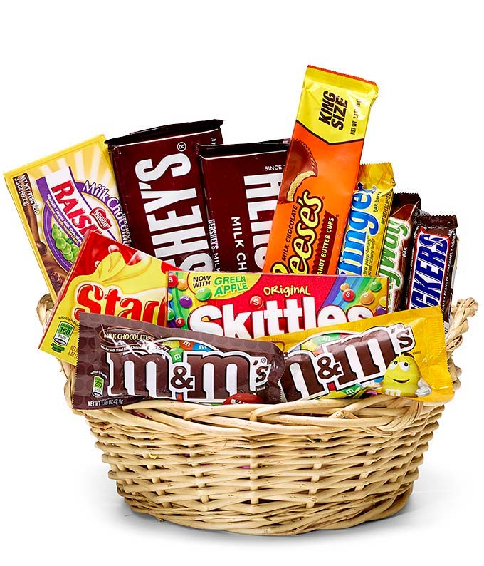 Everyones favorite candy basket at from you flowers candy gift basket negle Choice Image