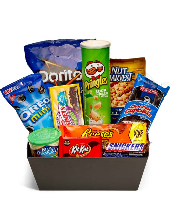 Chips, Candy and Nuts delivered in a basket