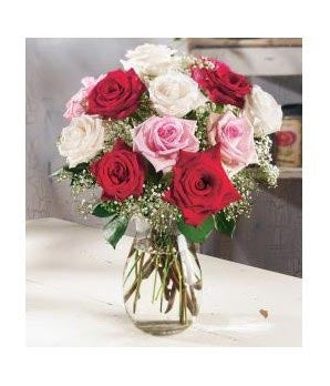 One Dozen Mixed Roses with white, red and pink flowers