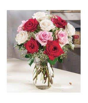 One dozen assorted sweetheart roses at from you flowers one dozen mixed roses with white red and pink flowers mightylinksfo