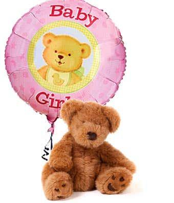 new Baby girl balloon with teddy bear