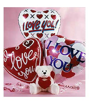 Three love you balloons with valentine teddy bear