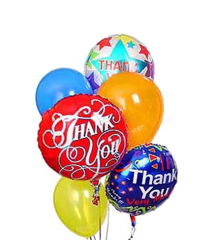 Thank you mylar and latex balloon bouquet