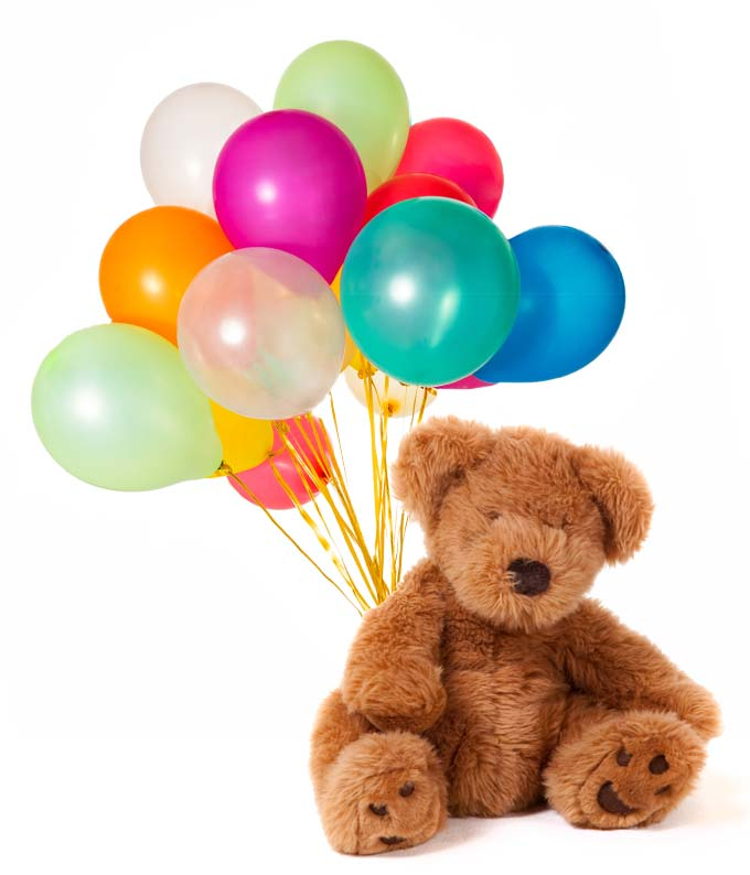 Plush teddy bear delivered with one dozen latex balloons