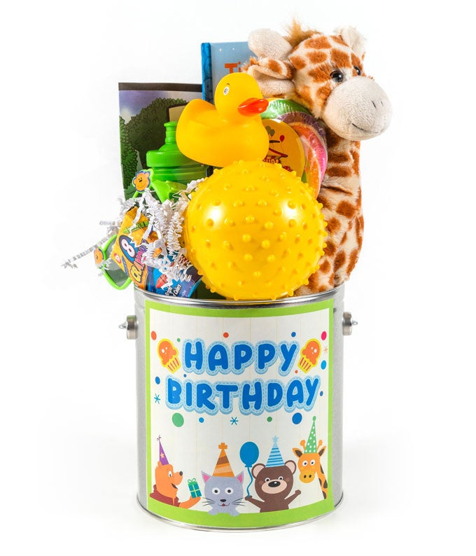 Giraffe Birthday gift baskets with kids toys