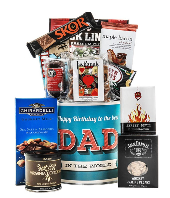 Dad Birthday Basket delivered with candy and nuts