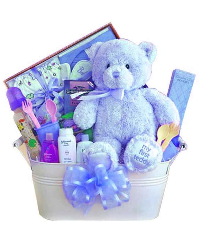 New baby boy blue teddy bear gift basket