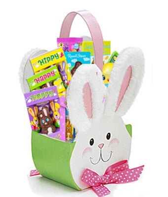 Easter bunny box filled with chocolate bunnies