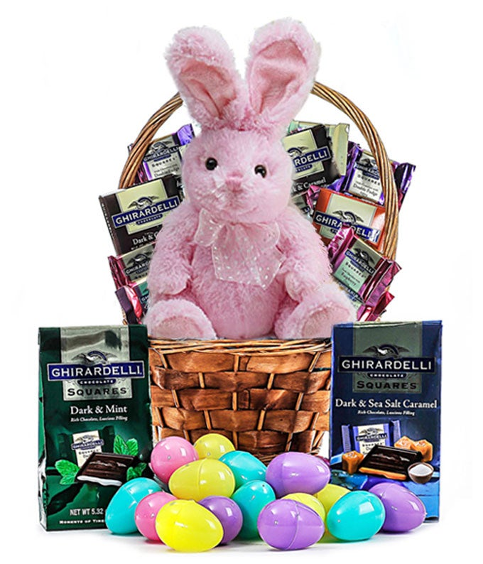 Pink plush bunny delivered with Ghirardelli chocolates