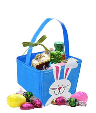 Easter bunny basket with chocolate eggs inside