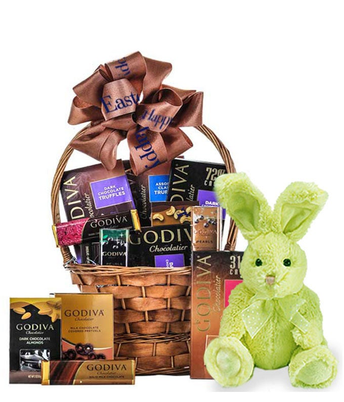 Easter Dream in Godiva Basket with Bunny