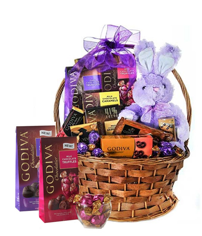 Purple plush bunny delivered in a woven basket with Godiva chocolates