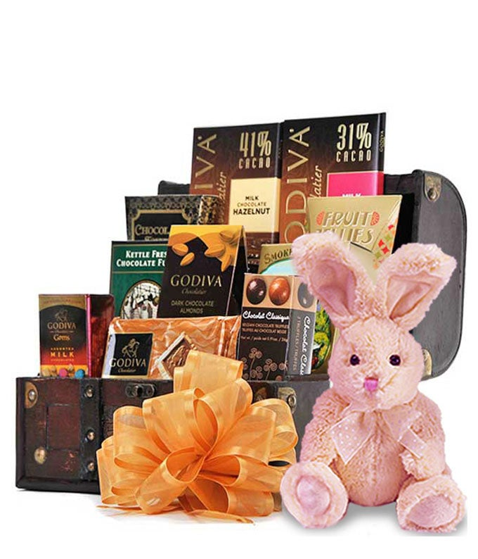 Treasure chest gift box filled with Godiva chocolate and a plush bunny rabbit