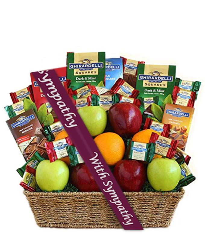 Ghirardelli Chocolate & Fruit Sympathy Gift Basket