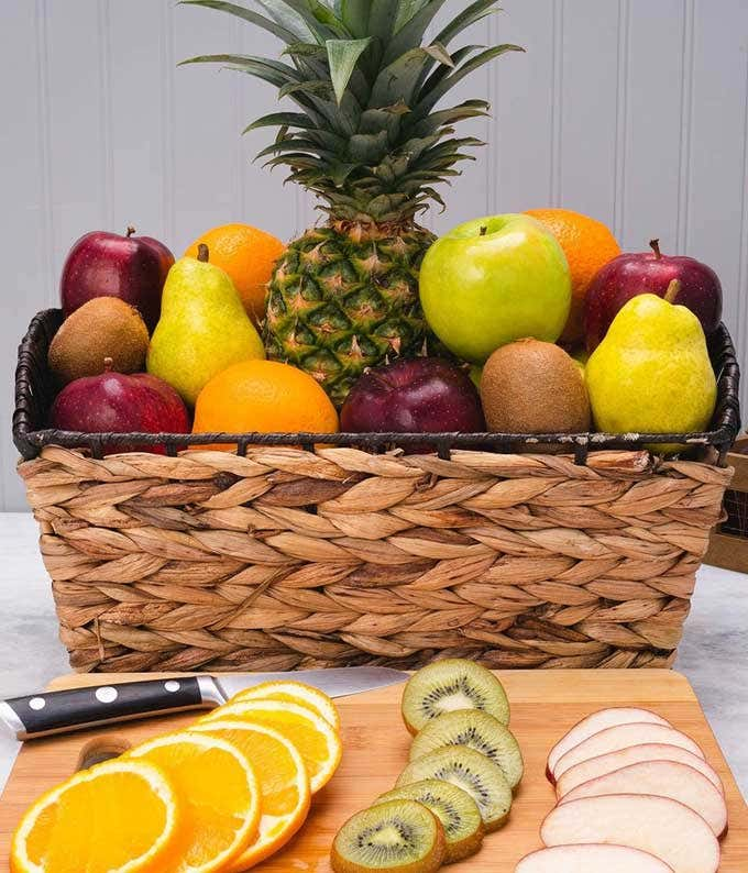 Deluxe fruit basket with a variety of fruit