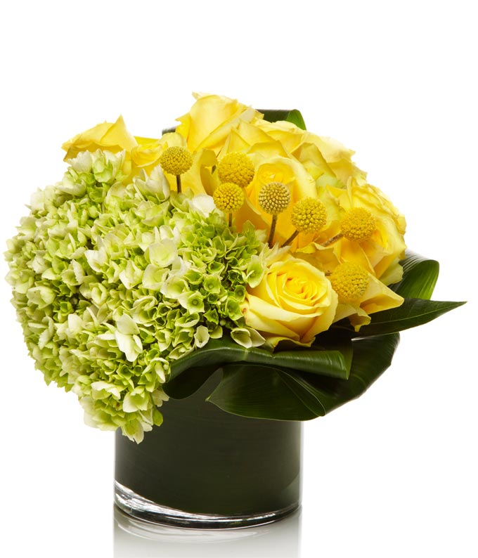 Round bouquet with yellow roses and green hydrangea