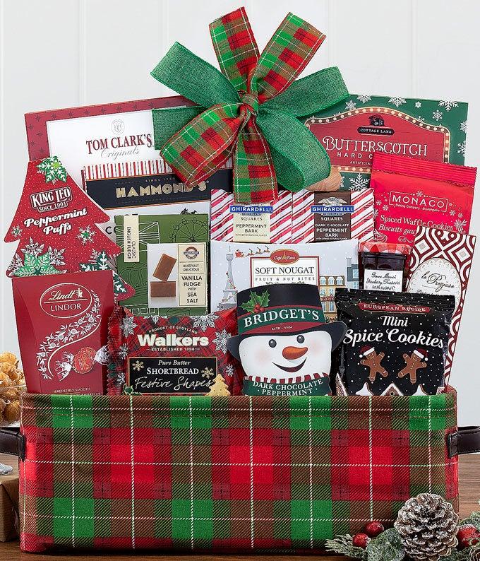 Popcorn, chocolate, hot cocoa and more Christmas food basket
