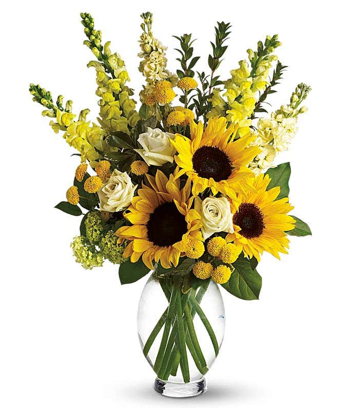 Sunflowers and green roses in a vase
