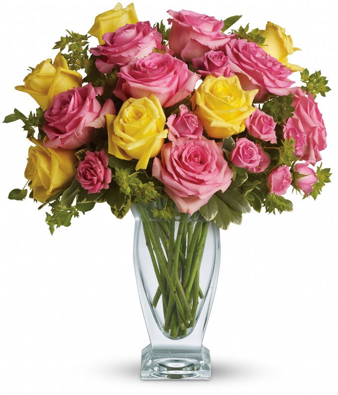 Luxury yellow and pink rose bouquet