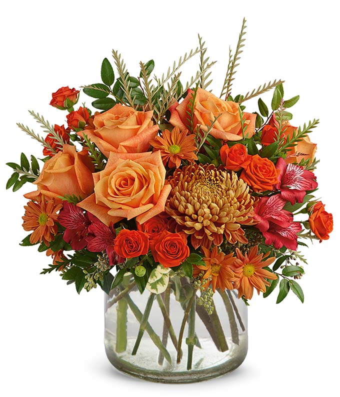 Modern vase with a luxury Autumn bouquet