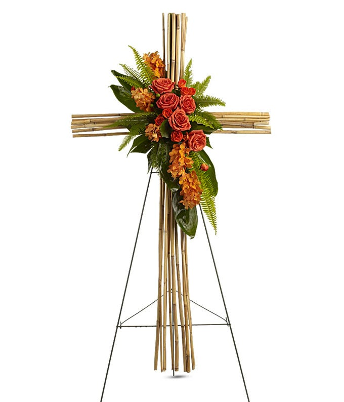 Orange Floral Cane Cross Standing Spray