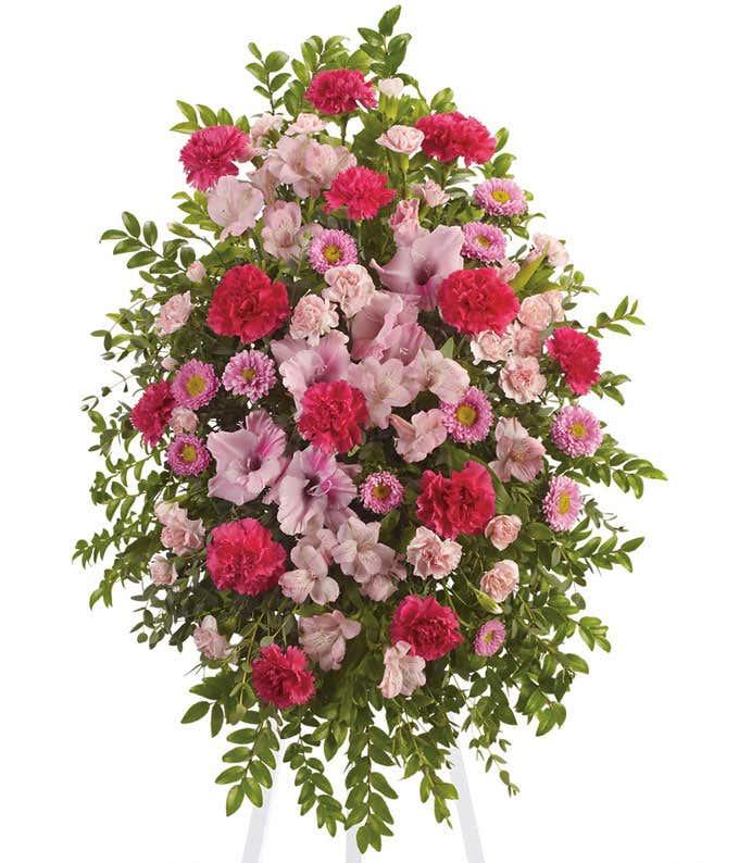 Pink Flower Tribute Standing Spray
