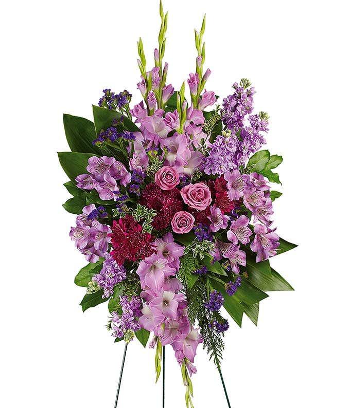 Purple flower standing funeral spray