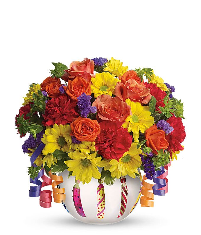 Birthday mixed bouquet with candle vase