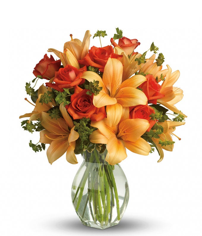 Orange rose and Orange lily bouquet