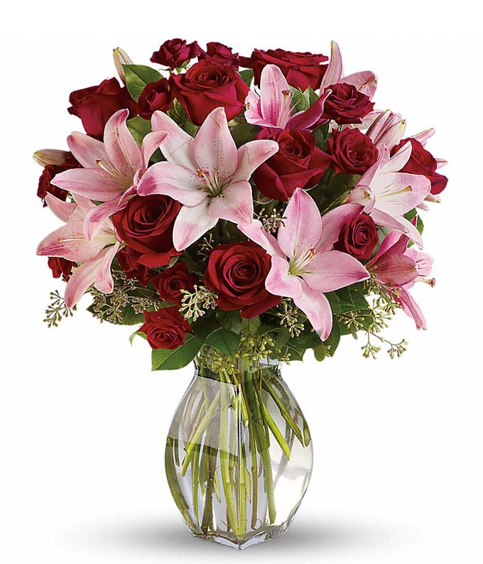 Lavish bouquet with red roses and pink asiatic lilies