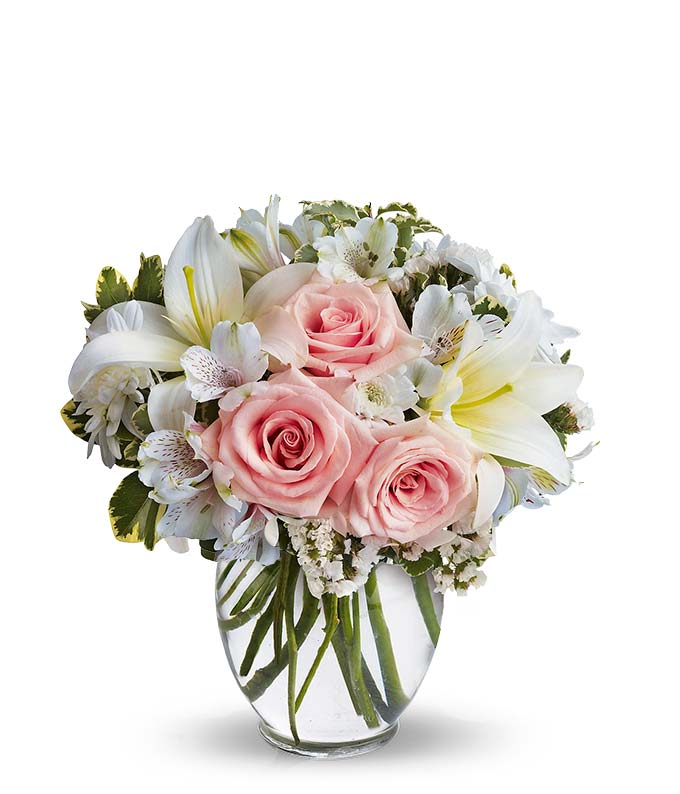 Serenity and bliss at from you flowers pink roses white lilies and white mums mightylinksfo