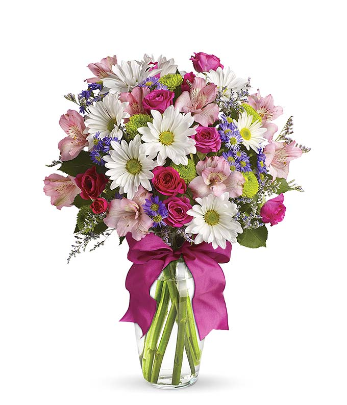 Where to buy flowers and pink and white daisy bouquet