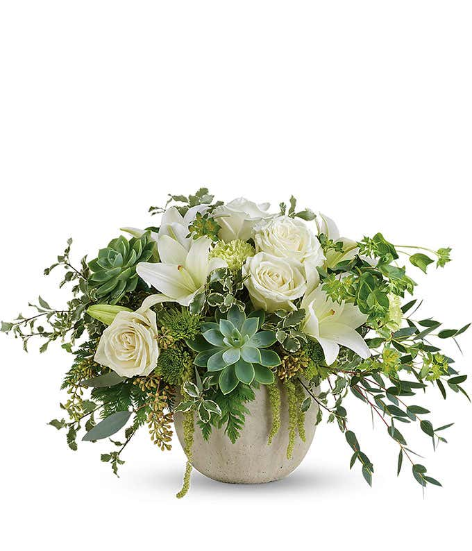 White roses with Succulents in a keepsake container