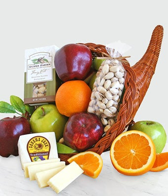 Cornucopia delivery with fruit and cheese