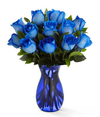Deep Blue Hue Rose Bouquet