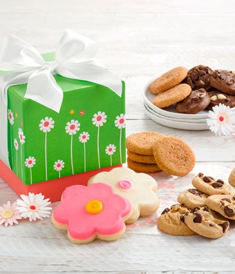 Flower cookies delivered with mini chocolate chip cookies