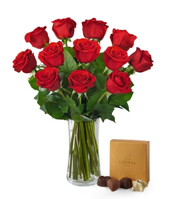 One Dozen Red Rose Bouquet with Godiva® Chocolates