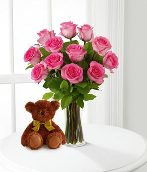 Pink Roses and Hugs with Vase