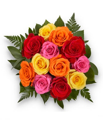 Simply Cheerful Mixed Rose Bouquet - 12 Stems (no vase)