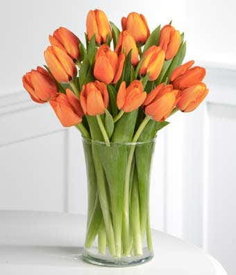 Orange Tulips With Free Glass Vase At From You Flowers