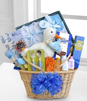 Special Stork Delivery Baby Boy Basket at From You Flowers