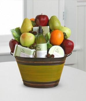 Fruit basket delivered with soap, gel and green tea