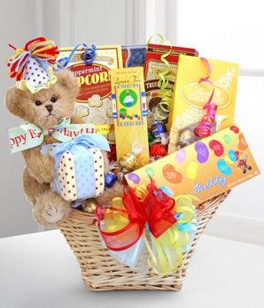 Birthday candy basket with teddy bear