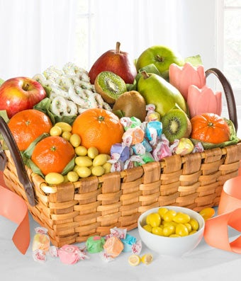 Mother's Day basket with fresh fruit and candy