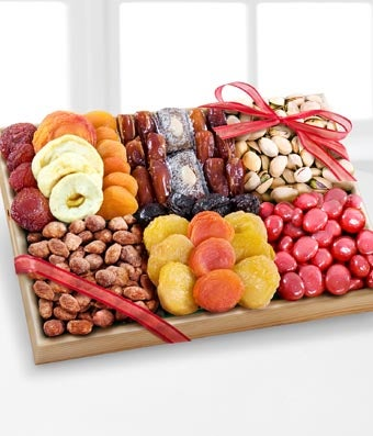 Flowers - Season's Snacks Holiday Dried Fruit, Nuts & Sweets Tray -GOOD - Regular