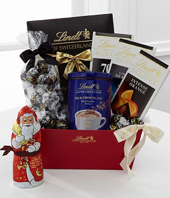 Lindt holiday gift basket dark chocolate at from you flowers negle Choice Image
