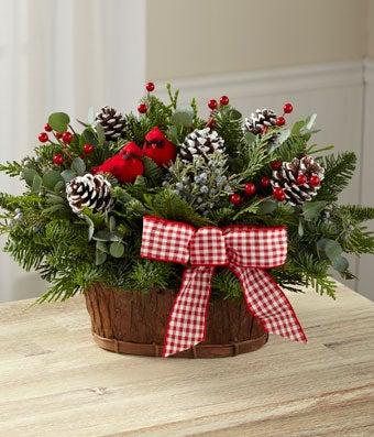 Flowers - The FTD Joyful Tidings Holiday Basket by Better Homes and Gardens - Regular FTD proudly presents the Better Homes and Gardens Joyful Tidings Holiday Basket. Set to make that perfect seasonal impression, this gorgeous, fresh basket will delight your special recipients both near and far. Beautiful base of Noble Fir, Western Red Cedar and variegated holly are perfectly arranged in a natural woven basket to create an incredible look. Accented with faux red berry clusters, white painted pine cones, a single red grosgrain ribbon, and a sweet faux cardinal in a nest, this holiday arrangement will be a wonderful gift for any of the special people on your holiday gift list.