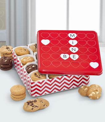 Mrs. Fields� Valentine cookies delivered in red tin