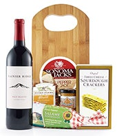 Red wine, cheese, salami and crackers delivered with a cutting board